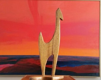 Mid-Century Wood Horse Sculpture