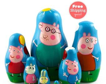 FREE Shipping * Pigs Nesting dolls for kids (7 pcs) * Matryoshka * Russian nesting doll * Stacking dolls * Hand Painted Nesting dolls