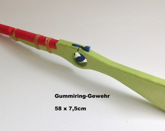 Rubber band rifle made of wood for children in green / Pirates / Handmade / Wooden toys