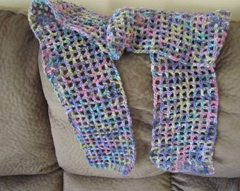 pastel hand croched scarf ..hand dyed hand spun yarn