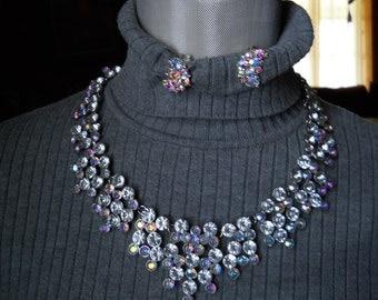 Vintage Rhinestone Necklace Clip On Earring Set #292