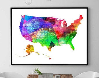 Us Map Print United States Printable Map America Map Watercolor Us Map