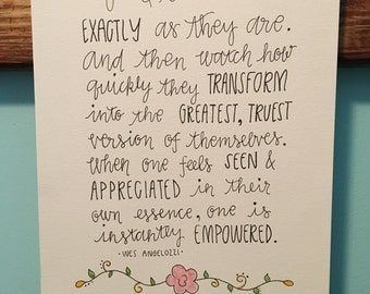 8x10 Original Quote Watercolor and Ink