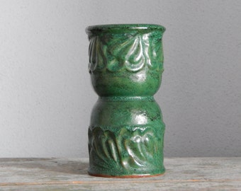 Soviet Vintage Green Ceramic Vase Made in USSR Russian Design Glossy Glaze