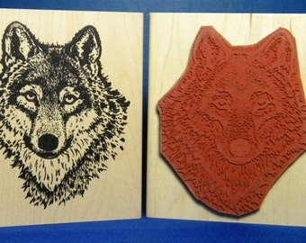 Rubber stamp-Wolf stamp- animals stamps- wolf face stamp Sarasota Stamps