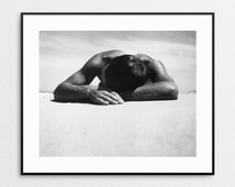 Sunbaker by Max Dupain - Black and White Vintage Photo Reproduction - Beach Decor - Wall Art - Nude Male - Sunbathing - Beach Art - Summer
