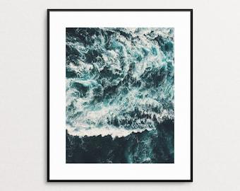 Ocean Waves Print - Ocean Wall Art - Ocean Home Decor - Photography - Ocean Giclee Art Print - Modern Beach Decor - Coastal Art - Aqua Blue