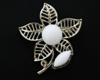 "Vintage Flower Brooch Celluloid Rhinestone Coat Sweater Pin Open Work Silver Tone Delicate 2"""