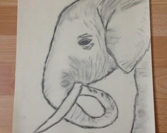 Charcoal Elephant Art