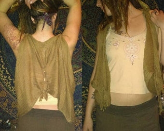 Upcycled scarf made into vest.