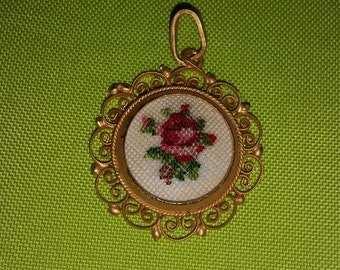 Vintage Rose Embroidered Cameo Pendant