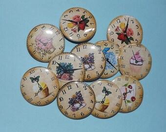 """Tea time clock  1.5""""Buttons. (set of 10)"""