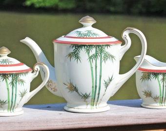 Hakusan Porcelain Tea/Coffee Pot, Creamer and Sugar Bowl with Bamboo Pattern