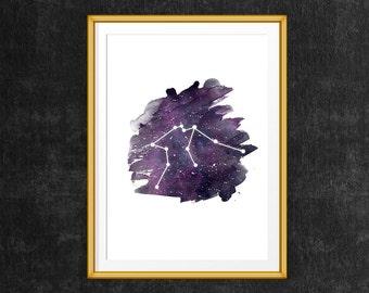 Aquarius constellation, Watercolor constellation print, Aquarius zodiac print, Printable Constellation art