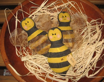 I'm a little honeybee - primitive bee bowl fillers/ornies for spring/summer