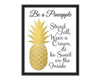 Be a Pineapple Princess - Illustrated Preppy Text  Print