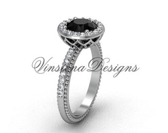 platinum diamond engagement ring, Black Diamond VF301005