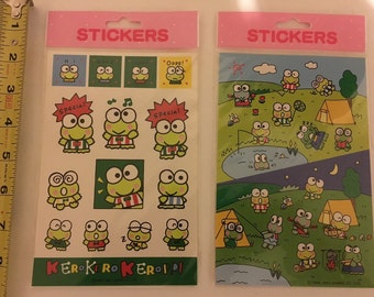 Vintage KeroKeroKeroppi lot of 2 Sticker Sheets
