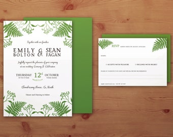 Green Tones Ferns Invitation/RSVP/Thank You cards