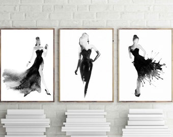 Fashion Print, Watercolor Art, Fashion Watercolor, Watercolor Print Set, Fashion Print Set, Black And White Print, Print Set, Watercolor Set