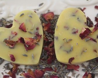 2 Thick Organic Lavender Bud and Rose Petal Heart  Lotion  Bars -- Shea Butter- Bees Wax-Fragrance- Moisturize
