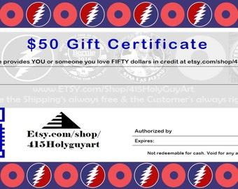 Grateful Dead Sticker Gift Certificate PHiSH Sticker Gift Certificate FREE SHIPPING!!