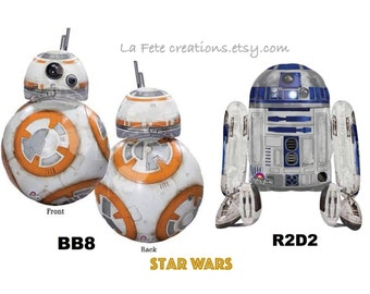 """Star Wars Balloons  BB8 33"""" or R2D2 26""""  The Force Awakens Star Wars Movie Theme"""