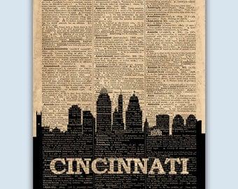 Cincinnati Skyline, Cincinnati Poster, Cincinnati Decor, Cincinnati Print, Cincinnati Art, Cincinnati Gift, Cincinnati Ohio Decor