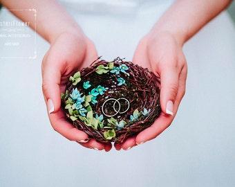 Ring Bearer Pillow Nest Boho Wedding Nest Spring wedding bridal accessory Romantic wedding Boho ring holder bearer pillow bird nest Woodland
