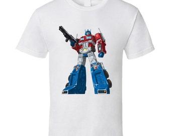 Retro Optimus Prime Transformers Autobots T-shirt White