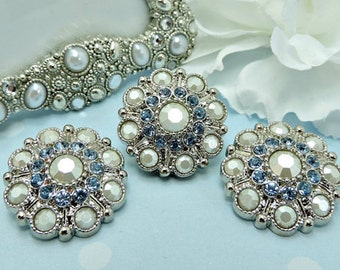 Pearly White And Light Blue Rhinestone Buttons Large Vintage Style Silver Acrylic Rhinestone Buttons Wedding Garment Coat 28mm 5051 J2 & 11R
