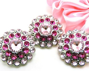 Pretty Pinks Rhinestone Buttons Pink & Hot Pink Acrylic Rhinestone Buttons Rhinestone Buttons Coat Buttons Fashion Buttons 24mm 3190 22 24R