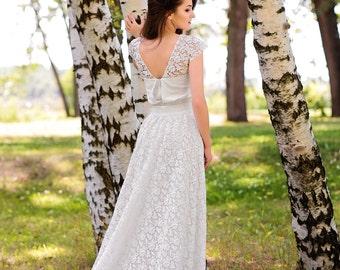 Rovena / Straight wedding dress / Rustic wedding dress