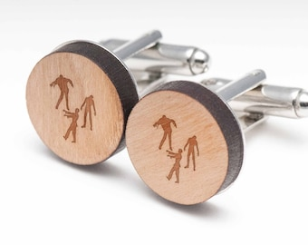 Zombie Wood Cufflinks Gift For Him, Wedding Gifts, Groomsman Gifts, and Personalized