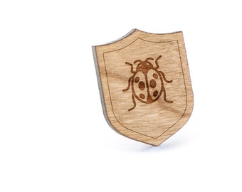 Ladybug Lapel Pin, Wooden Pin, Wooden Lapel, Gift For Him or Her, Wedding Gifts, Groomsman Gifts, and Personalized