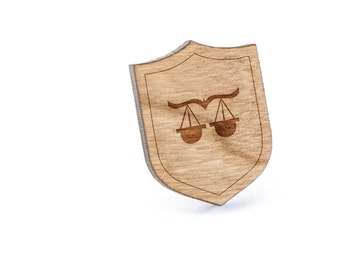 Libra Lapel Pin, Wooden Pin, Wooden Lapel, Gift For Him or Her, Wedding Gifts, Groomsman Gifts, and Personalized