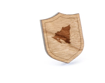 Nicaragua Lapel Pin, Wooden Pin, Wooden Lapel, Gift For Him or Her, Wedding Gifts, Groomsman Gifts, and Personalized