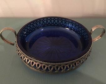 Vintage Cobalt Blue Candy Dish