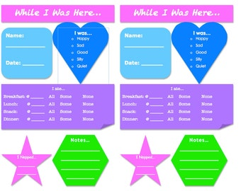 Nanny/Day Care Daily Report Sheets Instant Download