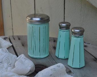 Mint Green Salt Pepper and Sugar Shaker