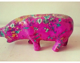 Medium bohemian decoupaged hippo,hand decorated and unique