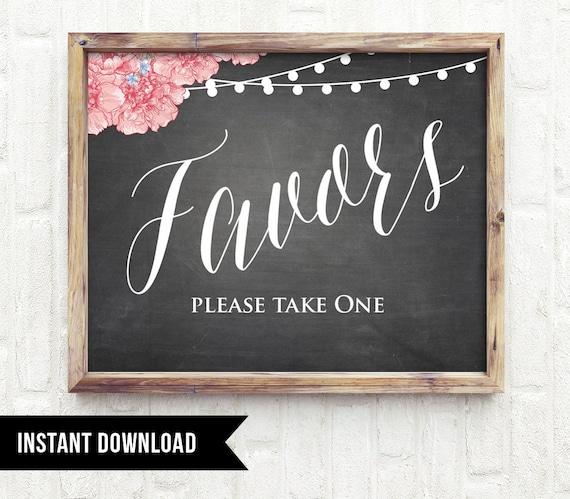 50% Off, Favors Wedding Sign, Printable Wedding Favors Sign, Diy, String Lights Floral Chalkboard, INSTANT DOWNLOAD, Digital File, PDF