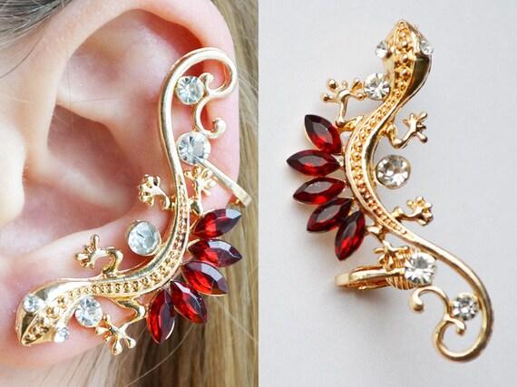 Lizard Crystal Earrings Ear Cuff Piercing Red Earrings Unusual Earrings Lizard Ear Cuff Best Gifts Fashion Earrings Ear Cuff Wrap