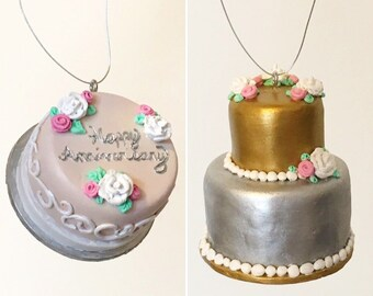 Anniversary or wedding cake replica ornaments, anniversary gift / christmas gift /gift for her (single tier or 2 tier)