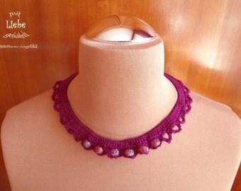 Necklace, necklace, necklace, jewelry Rondelles, crochet necklace, OOAK, statement necklace, bib necklace, handmade, unique
