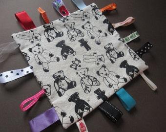 Organic cotton screen printed Taggie- Teddy bear design