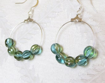 Silver and Aqua Beaded Hoop Earrings, SE-150