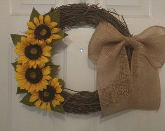 Sunflower Grapevine Wreath w/ Burlap Bow