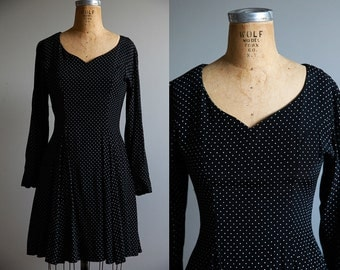 Black Polka Dotted Fit and Flare Dress