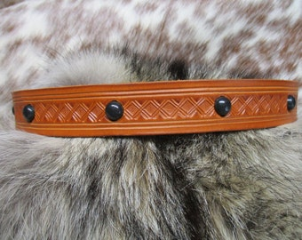 Leather Hatband, Handmade Leather Hatband, Hand Tooled Tan Cowboy Hatband with Black Chrome Plated Dome Spots and Lace Ties